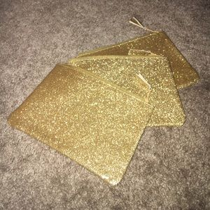 Handbags - 🆕 ✨ Three Pack of Gold Glitter Cosmetic Bags
