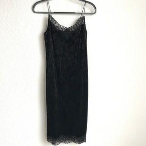 Velvet Lace Trim Slip dress