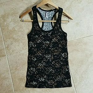 Leopard print lace tank top