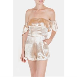 Pants - New Years Eve Gold Holiday Glam Satin Romper