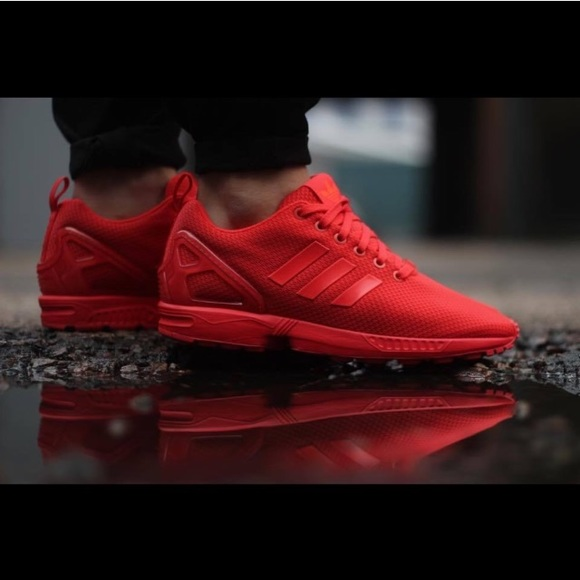 all red adidas flux