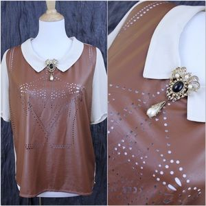 Tops - Lots of Character Hi Lo Sheer Pleather Blouse