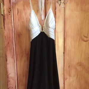 Dresses & Skirts - Black & white Halter dress with rhinestone detail