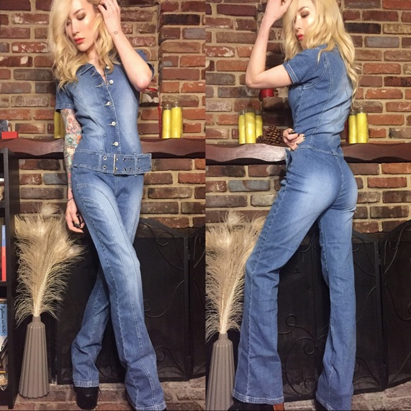 a04720d72bc 70 s flared denim jumpsuit. M 5984925ba88e7d1d1e027018