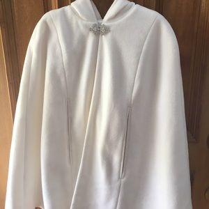 Jackets & Blazers - Ivory hooded bridal cape
