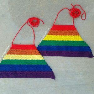Rainbow crochet crop tops. Adjustable back