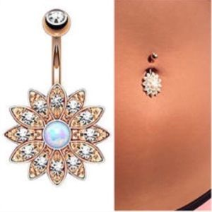 White Opal Rose Gold Flower Belly Button Ring Bar