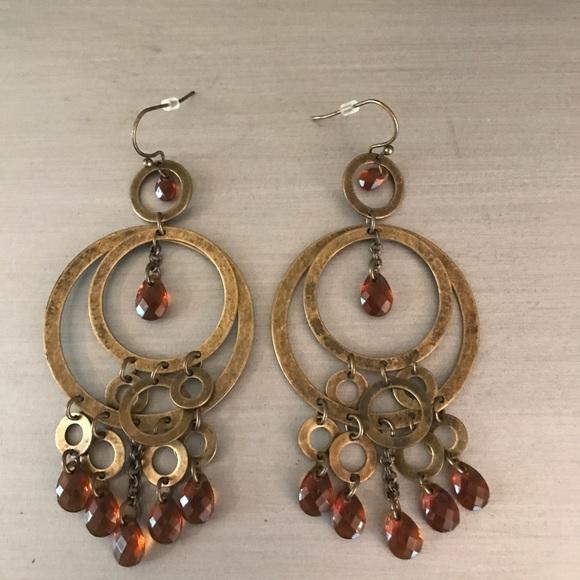 Brass amber chandelier earrings poshmark m59849d13c6c79581d00295bd aloadofball Image collections