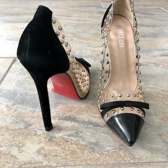 509c4197b Jojo Cat Shoes | Clear And Black Gold Studded Pumps With Red Bottom ...