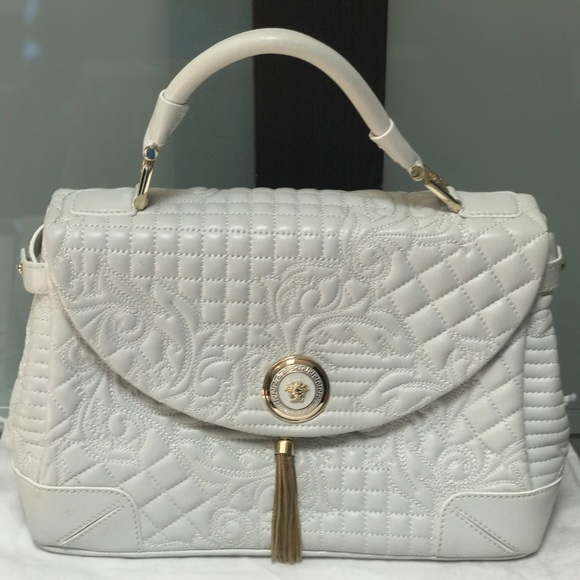 47277e120ab Versace Bags   White Leather Barocco Embroidered Bag   Poshmark