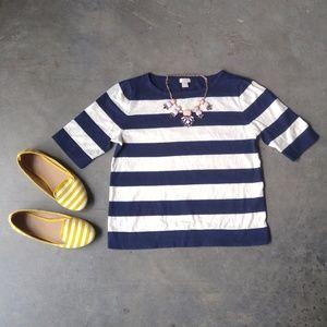 J. Crew Elbow Sleeve Striped Boatneck Sweater
