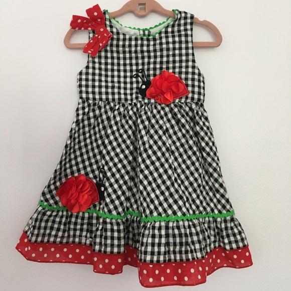 a8fb20d63 Youngland Baby Dresses | Baby Girl Gingham Polka Dot Lady Bug Dress ...