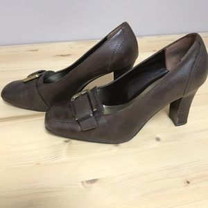 00e582e58f91 Worthington Shoes -  Worthington  Brown Heels with Buckle Detail