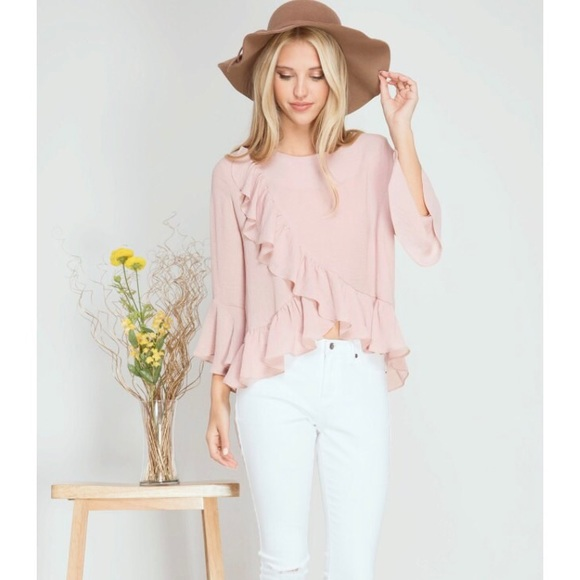 5e262ece88258 Dusty Rose Petal Ruffled Blouse