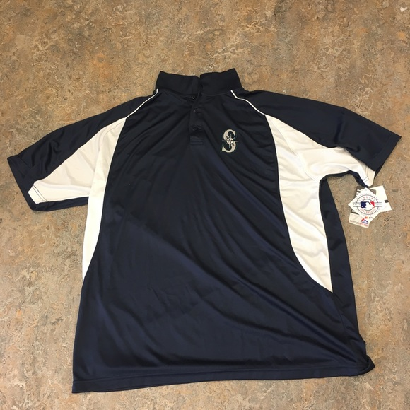 more photos fea9d d0175 Seattle Mariners Majestic Navy 2XT Polo Shirt NWT