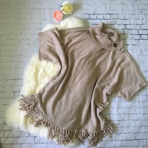 Sweaters - Cowl Neck Dolman Sleeve Fringed Poncho Sweater