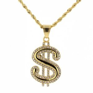 "Other - Dollar Pendant Stainless Steel&CZ Do with 24""Chain"