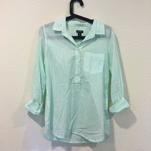 J. Crew mint green striped button down shirt