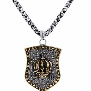 "Other - Crown Pendant Stainless Steel&Black CZ  20""Chain"