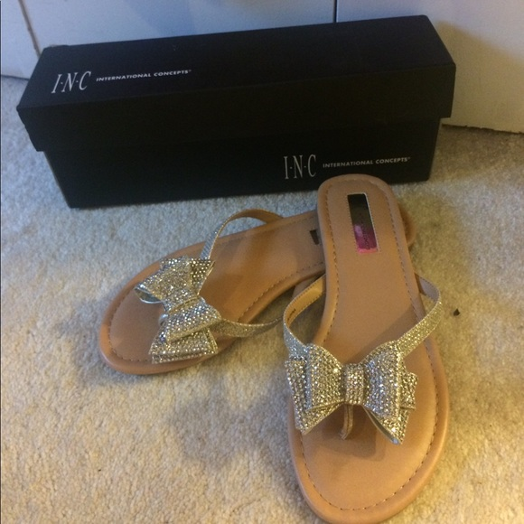 6b8148d87 INC Champagne Women s Mabae Bow Flat Sandals!
