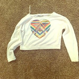 Victoria's Secret pink Aztec crop sweatshirt white