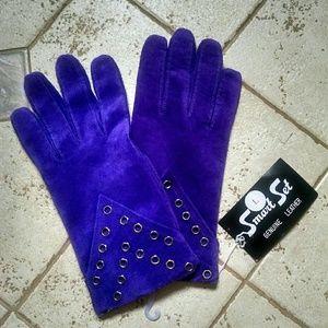 Royal purple Vintage Leather gauntlet gloves