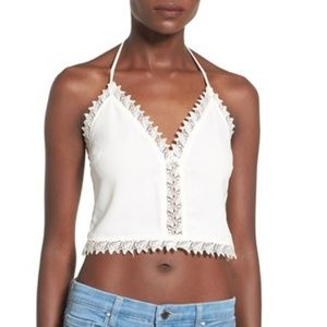 NWT Leith white lace halter crop top