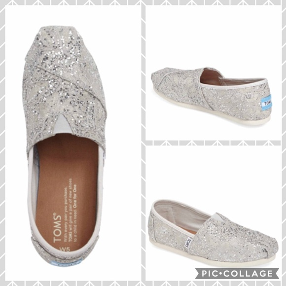 Toms Shoes Classic Lace Glitter Slip On Silver Poshmark