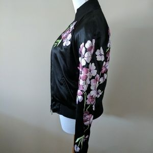 Silk embroidered bomber jacket