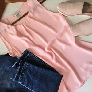 Loft Blush Semi-Sheer Sleeveless Top; size XS