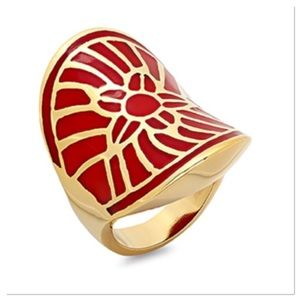 Gold and Red Flower Ring