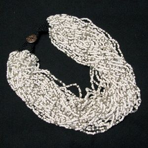 Multi strand bead necklace in grey and white