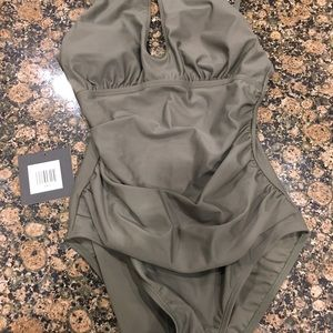 b855e26d15f49 Ellen Tracy Swim - NWT Ellen Tracy Olive One Piece Ruched swimsuit
