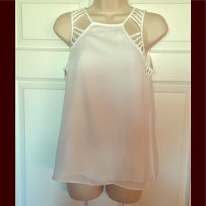 Tops - White Caged Sleeveless Chiffon Blouse