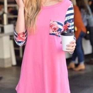 Tops - ✨1MED LEFT!!  Pink Striped Floral Top