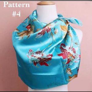 Accessories - ✨Silk Satin Scarf - Blue Floral, Color #4