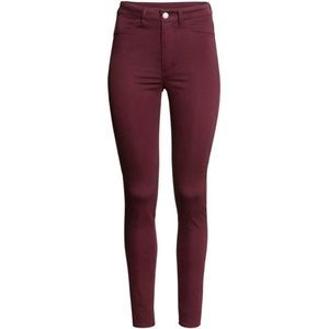 H&M High-Waisted Skinny Jeans - Maroon