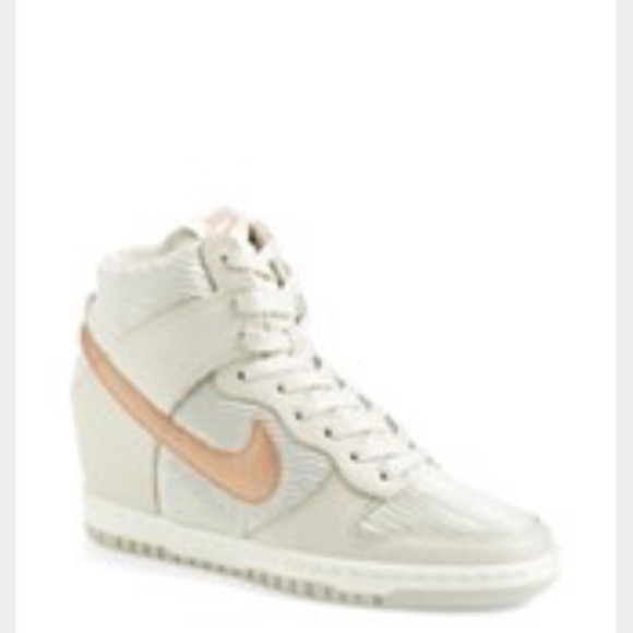 low priced 45d75 6338e Nike rose gold and light grey sky hi dunk wedges. M59850aff9c6fcf551f002071