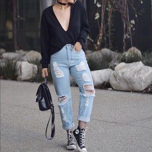 High Waisted Boyfriend Jeans