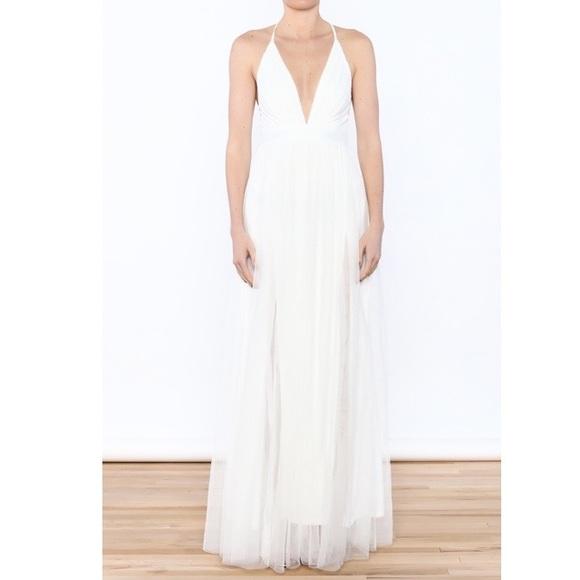 8c8c5343eb NWT Luxxel white tulle maxi v neck gown dress