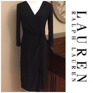 Ralph Lauren Size 8 Black 3/4 Sleeve v Neck Dress