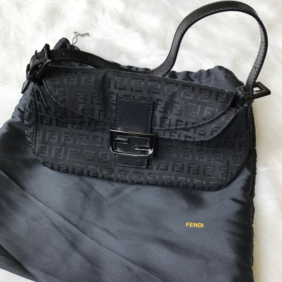 bf29d69584dc Fendi Handbags - Fendi Zucca Monogram Baguette Shoulder Bag - Black