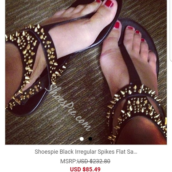 7ed3c3355bc8 ShoesPie Gold Studded Black Sandals 10