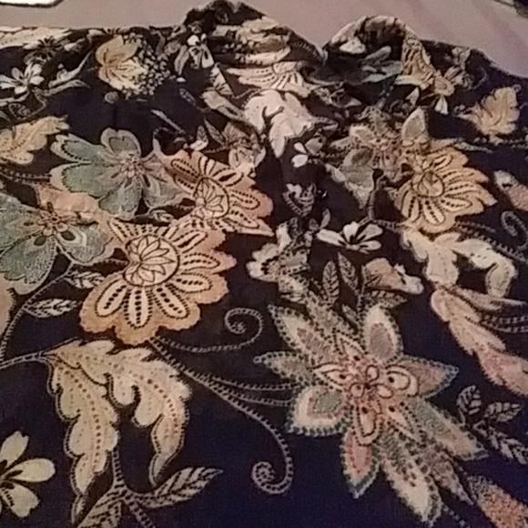Lane Bryant Tops - Hippy boho black floral button top dressy blouse