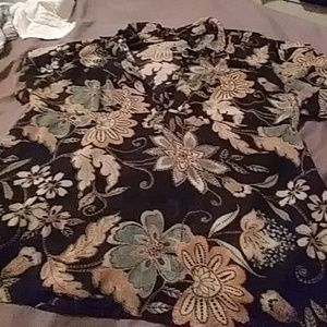 Lane Bryant Tops - Hippy boho black floral button top dressy blouse