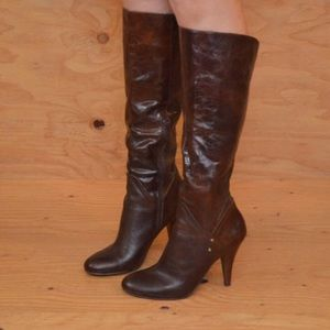 Sexy Leather Brown Leather High Heels Boots 9