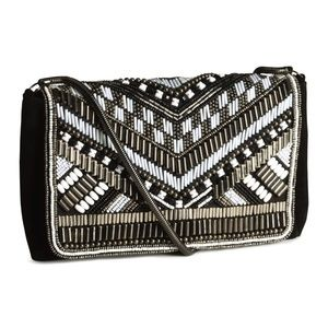H&M black and white beaded clutch bag