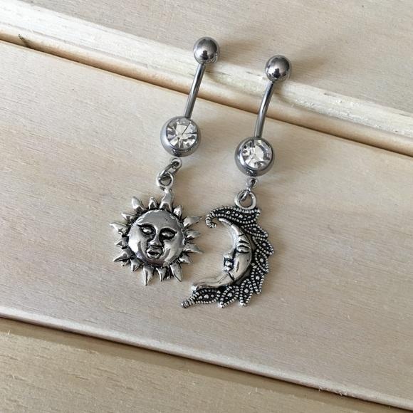 Sun Moon Belly Button Ring Set