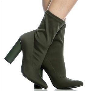 Ladies high heels booties in olive color