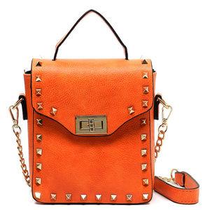 Handbags - Studded Messenger Bag Orange